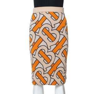 Burberry Beige & Orange Logo Jacquard Wool Midi Skirt S
