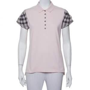 Burberry Brit Pink Cotton Pique House Check Sleeve Detail Polo T-Shirt XL