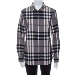 Burberry Monochrome Cotton House Checkered Button Front Shirt M