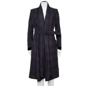 Burberry Prorsum Charcoal Grey Checkered Wool & Cashmere Waterfall Collar Belted Coat S