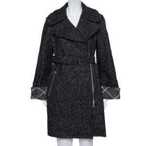 Burberry Brit Black Tweed Zip Front Double Breasted Coat S