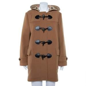 Burberry Camel Beige Wool Mersey Hooded Duffle Coat L