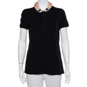 Burberry Brit Black Novacheck Collar Polo Shirt L