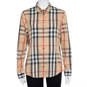Burberry Brit Beige Vintage Check Cotton Button front Shirt XL