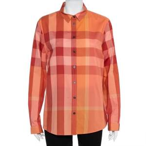 Burberry Brit Orange Checkered Cotton Button Front Shirt XL
