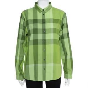 Burberry Brit Green Checkered Cotton Button Front Shirt XL