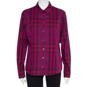 قميص بربري بريت أزرار أمامية قطن كاروهات بنفسجي مقاس كبير جداً