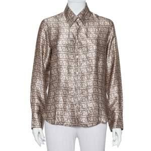 قميص بربري لند حرير بيج بالشعار المطبوع أكمام طويلة أزرار أمامية مقاس كبير