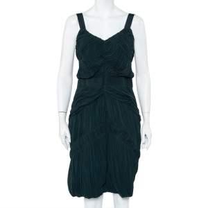 Burberry Dark Green Chiffon Plisse Detail Sleeveless Sheath Dress L