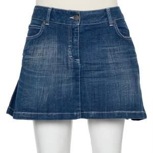 Burberry Navy Blue Denim Pleated Detail Mini Skirt S