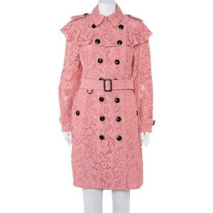 Burberry Pink Lace Ruffled Double Breasted Stanhill Trench Coat M