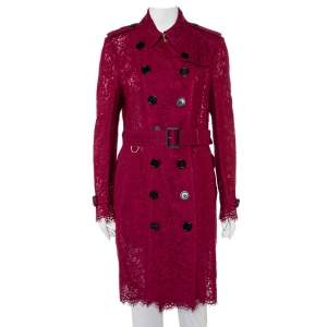 Burberry Burgundy Lace Double Breasted Belted Trench Coat L