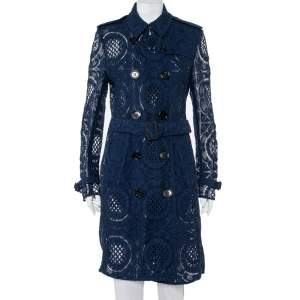 Burberry Navy Blue Lace Double Breasted Belted Stanhill Trench Coat L