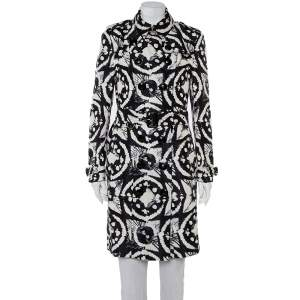 Burberry Monochrome Ink Tie Dye Printed Silk Double Breasted Belted Trench Coat L