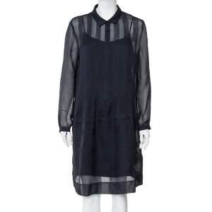 Burberry Brit Navy Blue Silk Pintuck Detail Button Front Dress L