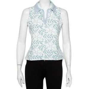 Burberry White Floral Printed Cotton Pique Sleeveless Polo T-Shirt L