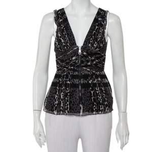 Burberry Black Animal Printed Silk Plunge Neck Draped Peplum Top S