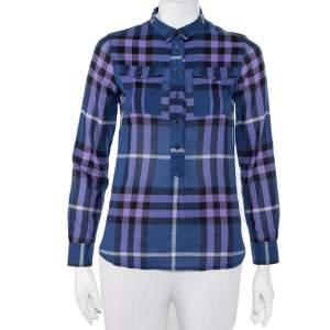 Burberry Brit Navy Blue Checkered Cotton Half Buttoned Shirt XXS