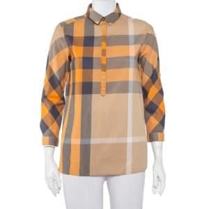 Burberry Brit Orange Nova Check Cotton Half Buttoned Shirt XS