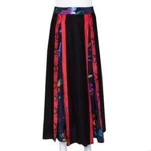 Burberry Prorsum Black Silk & Metallic Floral Fil Coupe Paneled Midi Skirt XS