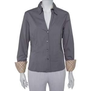 Burberry Grey Cotton V-Neck Collared Button Front Shirt XL