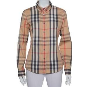 Burberry Beige Nova Check Cotton Button Front Shirt M