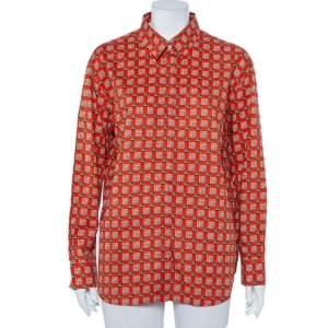 Burberry Orange Tile Archive Printed Cotton Button Front Shirt L