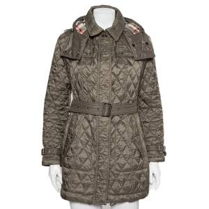 Burberry Brit Military Green Quilted Synthetic Finsbridge Jacket M