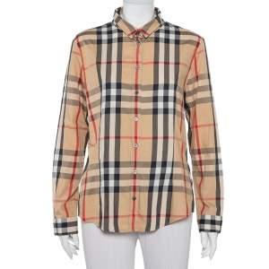 Burberry Brit Beige Nova Checkered Cotton Button Front Shirt XL