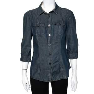 Burberry Brit Navy Blue Lightweight Denim Button Front Shirt M