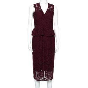 Burberry Burgundy Lace Peplum Detail Sleeveless Dress S