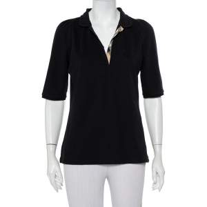 Burberry Brit Black Cotton Knit Polo T-Shirt L
