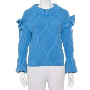 Burberry Prorsum Blue Wool & Cashmere Ruffle Detail Sweater XS