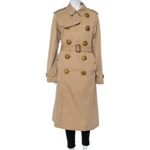 Burberry Beige Cotton Bird Metal Button Detail Belted Trench Coat XL