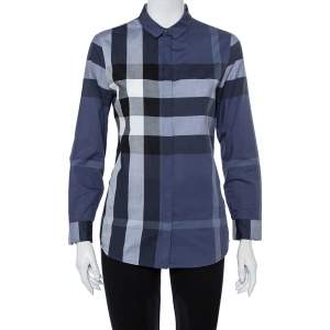 Burberry Navy Blue Checkered Cotton Button Front Shirt S