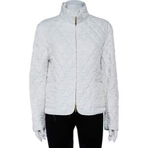 Burberry White Synthetic Stand Collar Quilted Jacket M