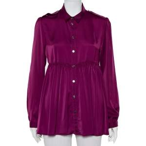 Burberry Magenta Satin Button Front Flared Shirt M