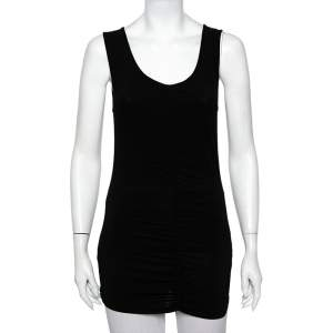 Burberry Black Jersey Ruched Detail Sleeveless T-Shirt M