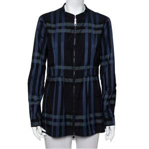 Burberry Navy Blue Checkered Cotton Zip Front Stand Collar Top M