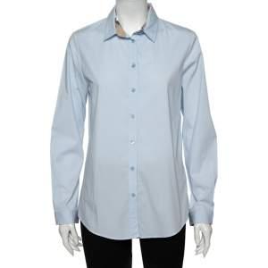 Burberry Brit Powder Blue Cotton Button Front Shirt L