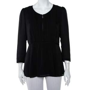 Burberry Black Silk Gathered Detail Zip Front Top M