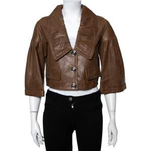 Burberry Brown Leather Pleated Detail Button Front Cropped Jacket S