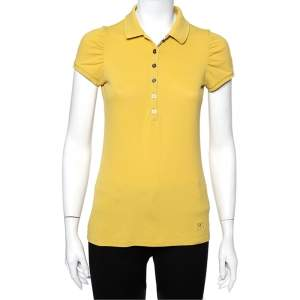 Burberry Brit Yellow Novacheck Trim Polo T-Shirt S
