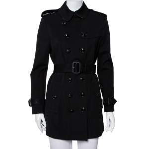 Burberry Black Knit Belted Trench Coat M