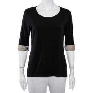 Burberry Brit Black Cotton Nova Check Trim T-Shirt L