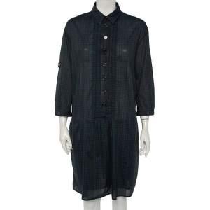 Burberry Green Checkered Cotton Pintuck Detail Shift Dress L