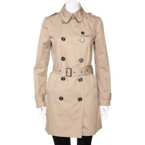 Burberry Beige Cotton Canvas Double Breasted Belted Trench Coat M