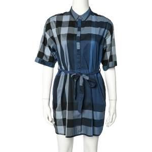 فستان ميني بربري بريت قطن كاروهات أزرق بحزام مقاس صغير - سمول
