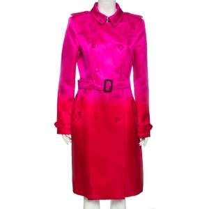 Burberry Pink Ombre Effect Silk Satin Belted Trench Coat L