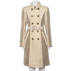 Burberry Beige Paneled Linen Double Breasted Belted Trench Coat L